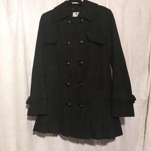 Black Wool Blend Skirted Peacoat Women's Medium
